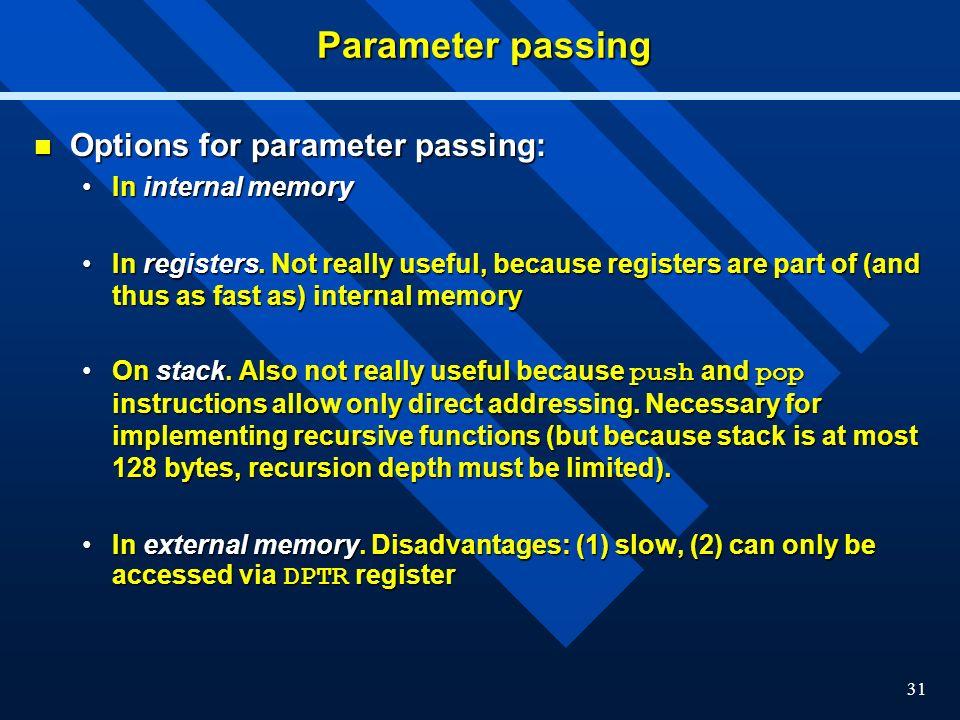 Parameter passing Options for parameter passing: In internal memory