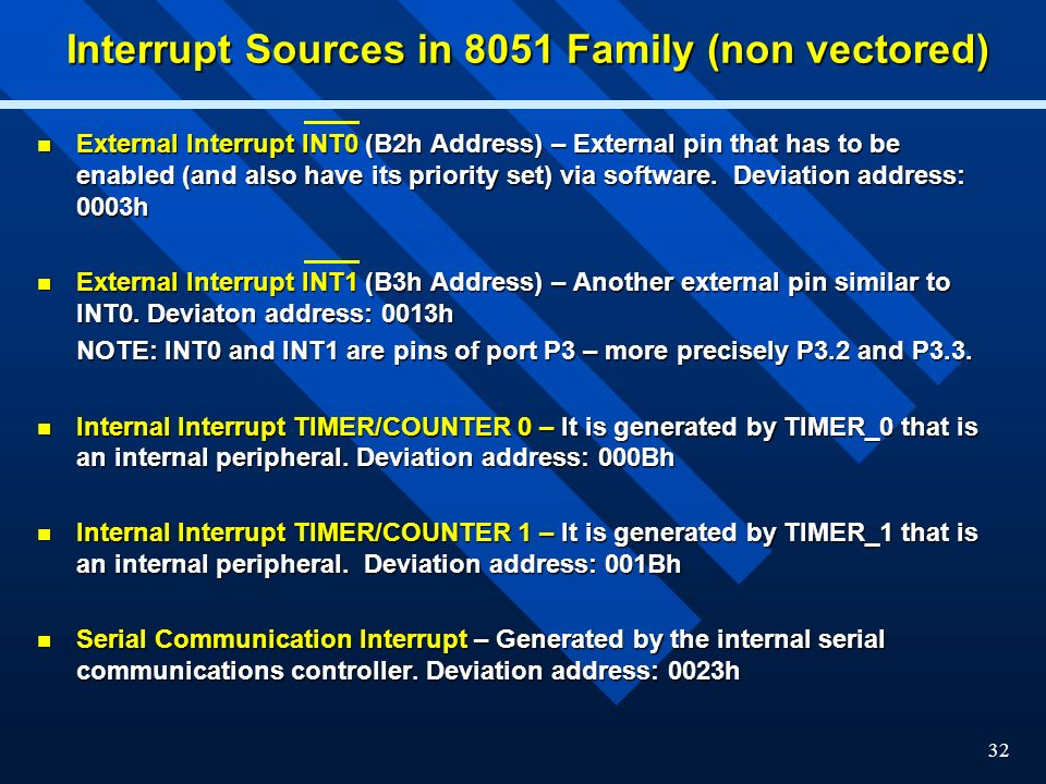 Interrupt Sources in 8051 Family (non vectored)
