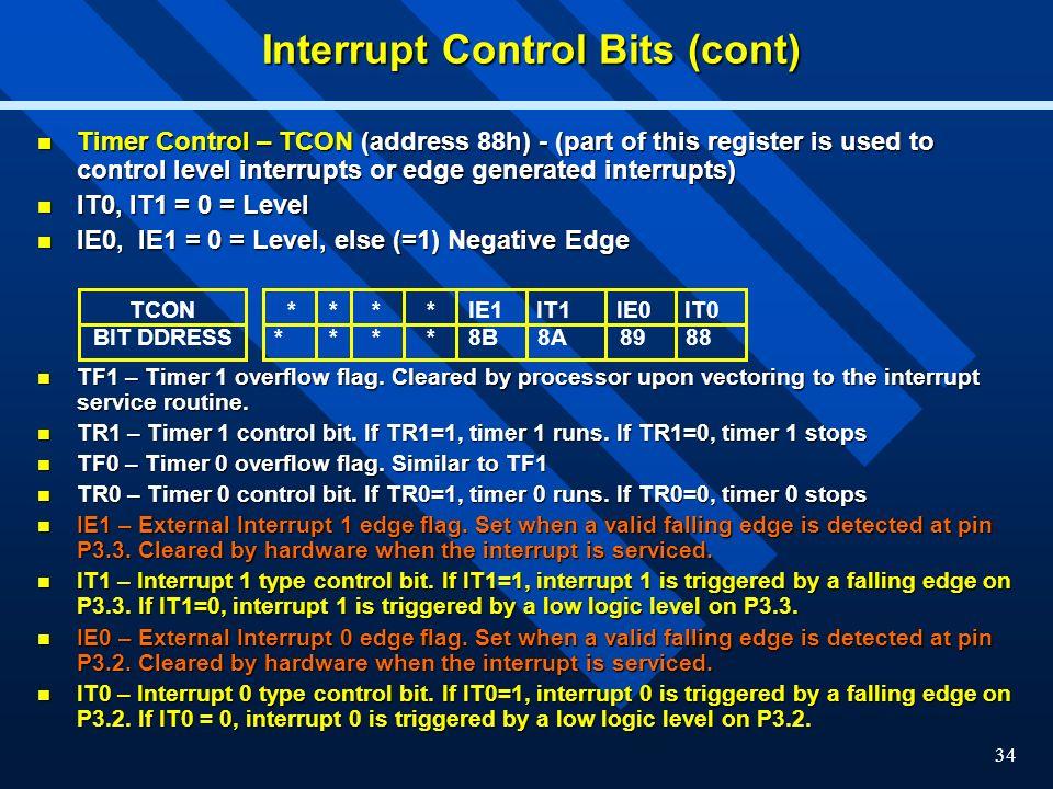 Interrupt Control Bits (cont)