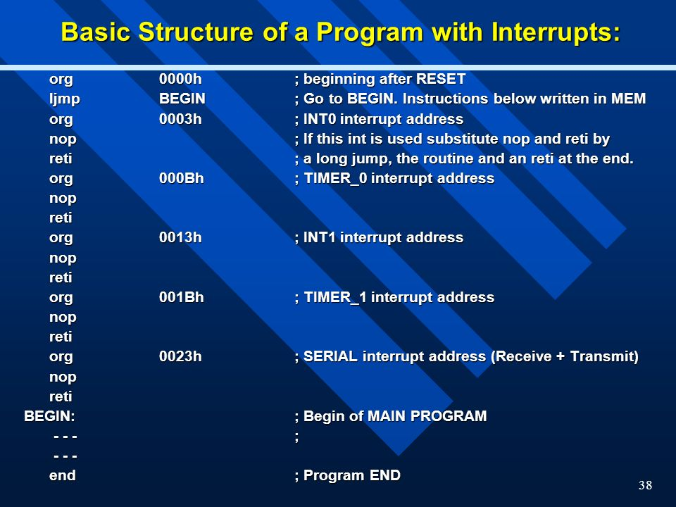 Basic Structure of a Program with Interrupts: