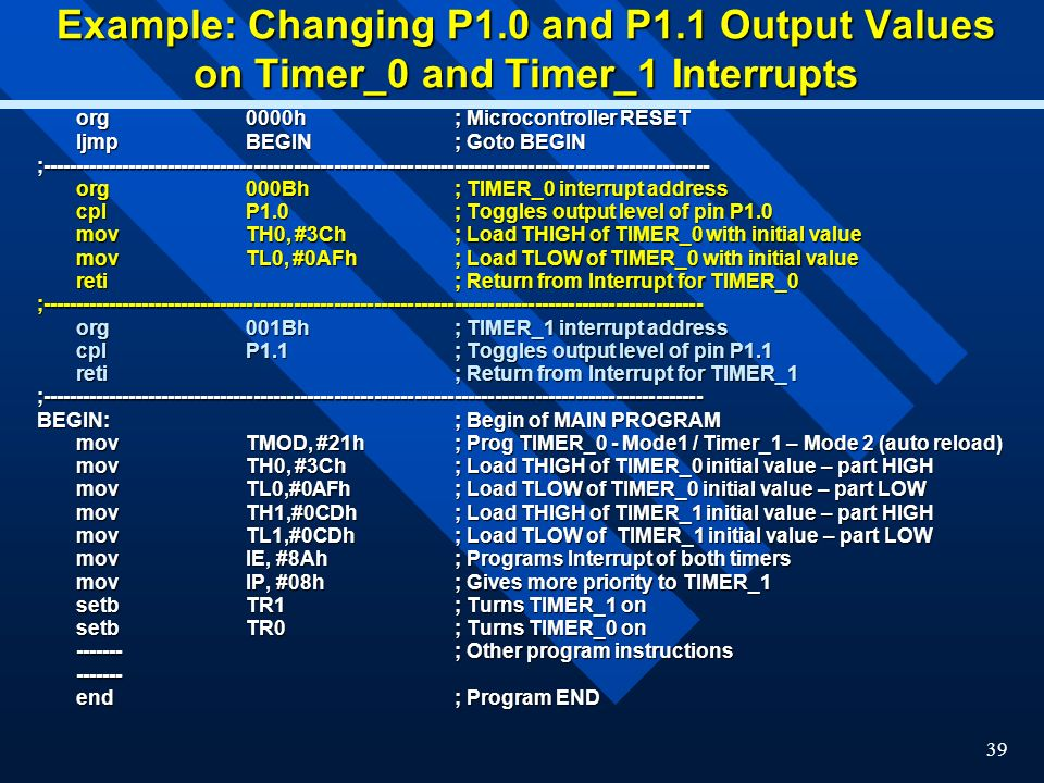Example: Changing P1. 0 and P1