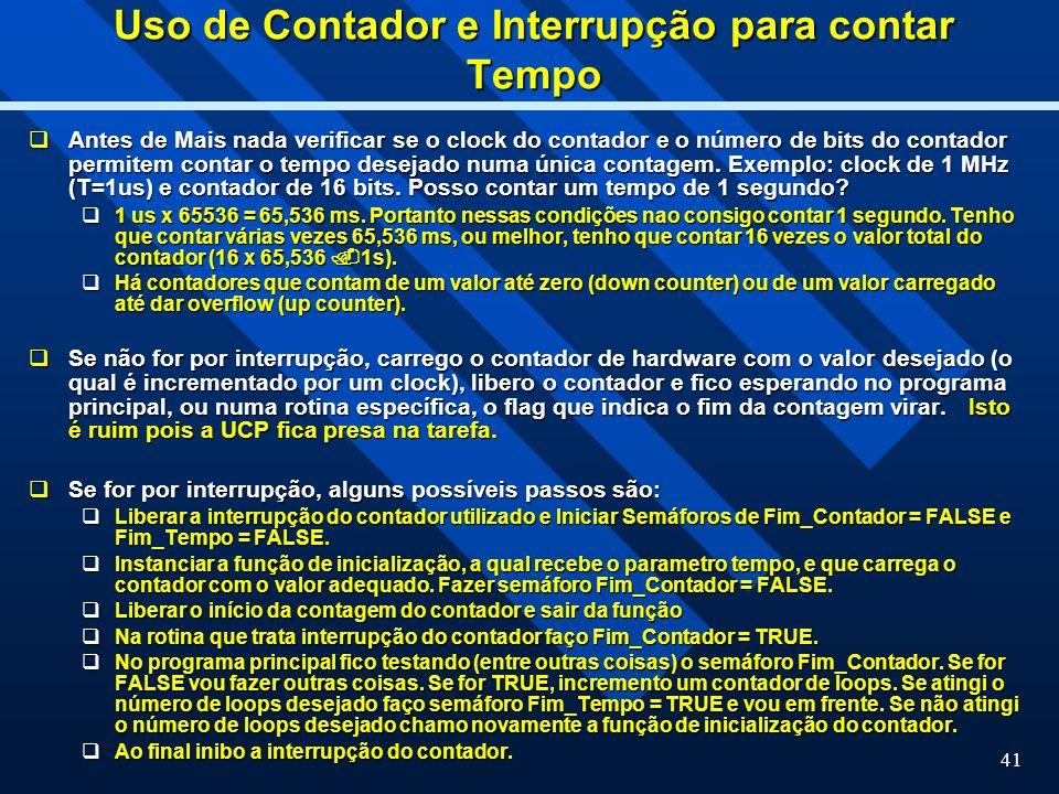 Uso de Contador e Interrupção para contar Tempo