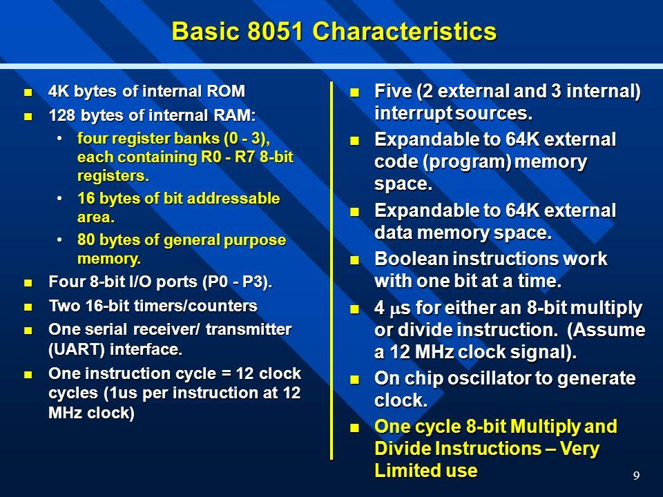 Basic 8051 Characteristics
