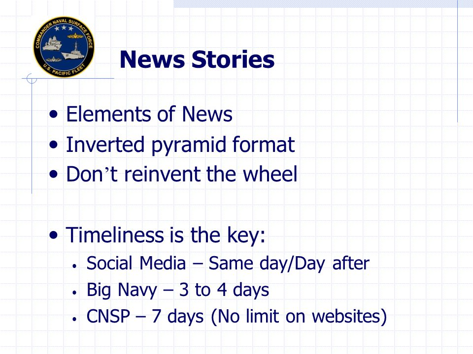 News Stories Elements of News Inverted pyramid format