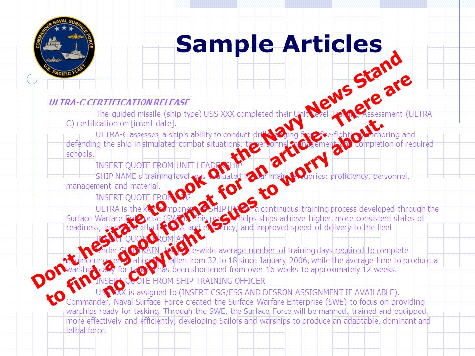 Sample Articles Don't hesitate to look on the Navy News Stand