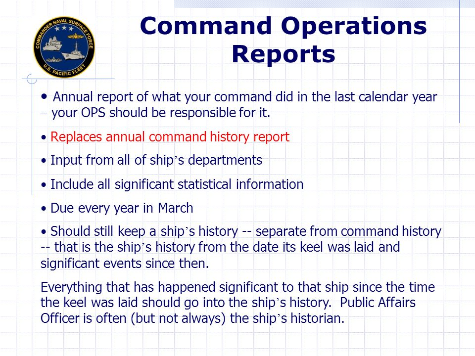Command Operations Reports
