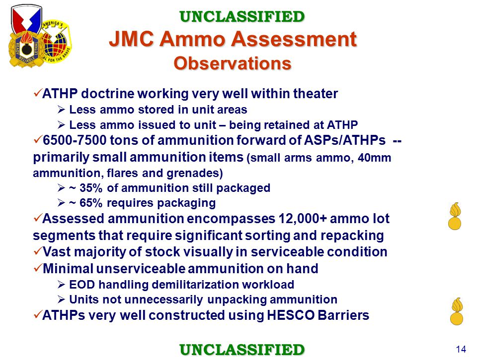 JMC Ammo Assessment Observations