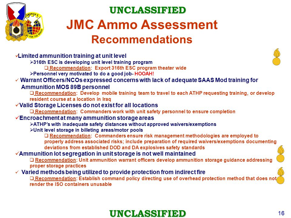 JMC Ammo Assessment Recommendations