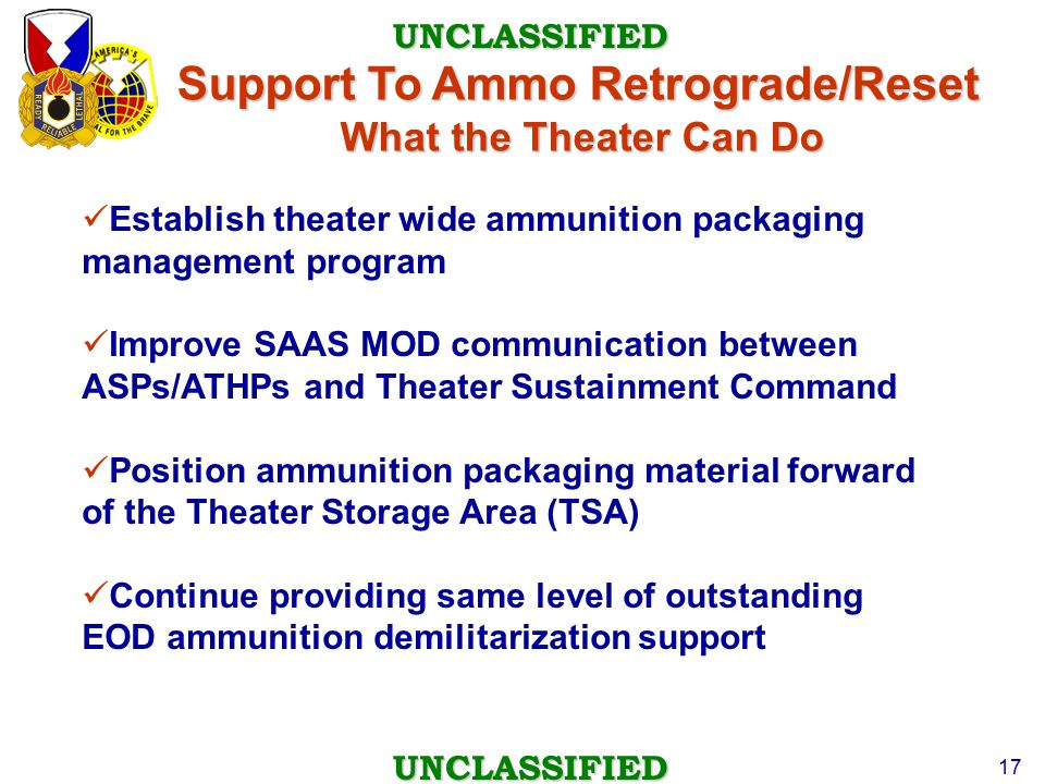 Support To Ammo Retrograde/Reset