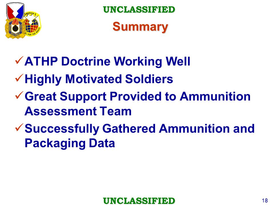 ATHP Doctrine Working Well Highly Motivated Soldiers