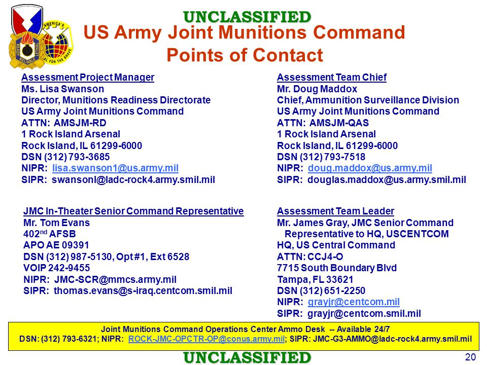 US Army Joint Munitions Command Points of Contact