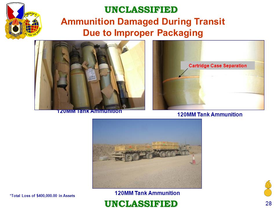 Ammunition Damaged During Transit Due to Improper Packaging
