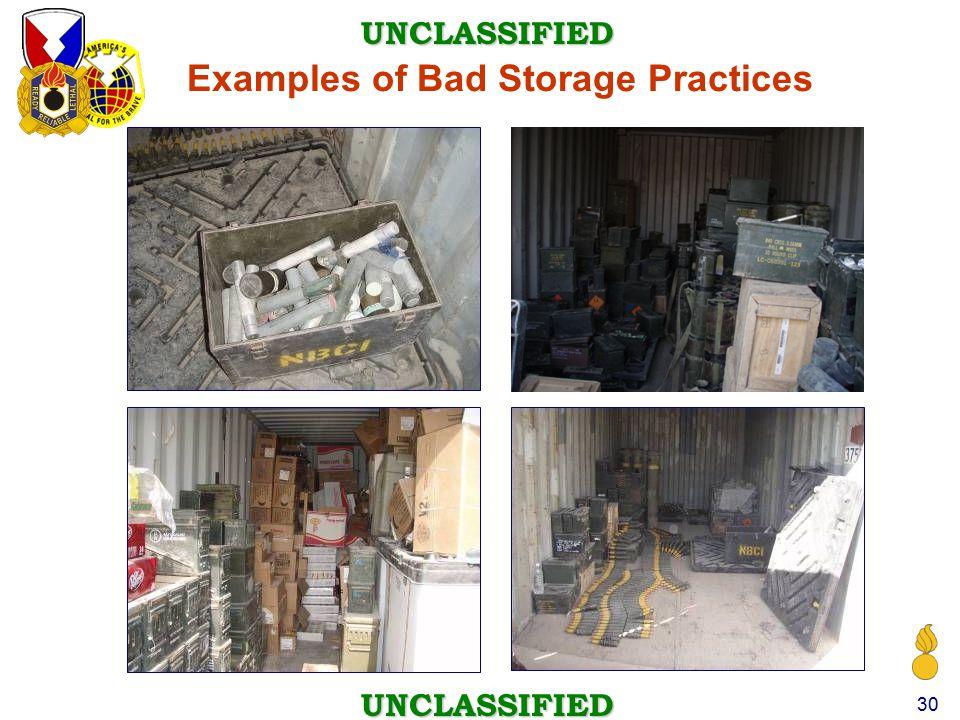 Examples of Bad Storage Practices