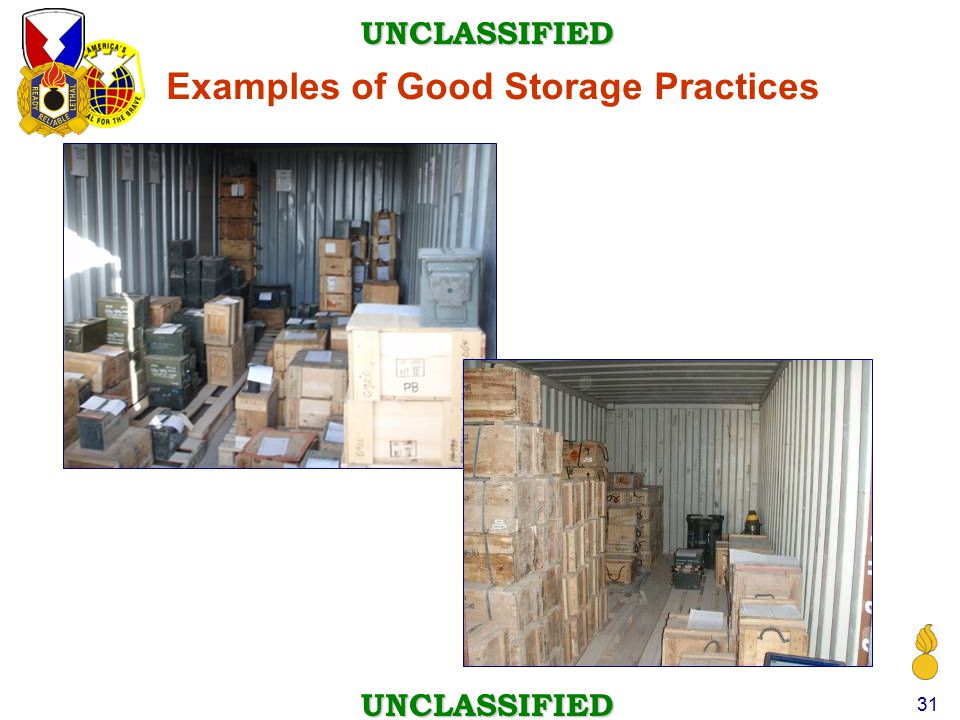 Examples of Good Storage Practices