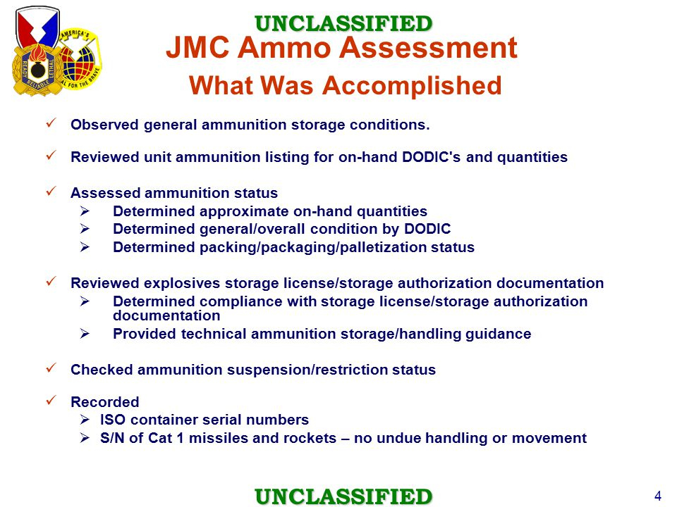 JMC Ammo Assessment What Was Accomplished