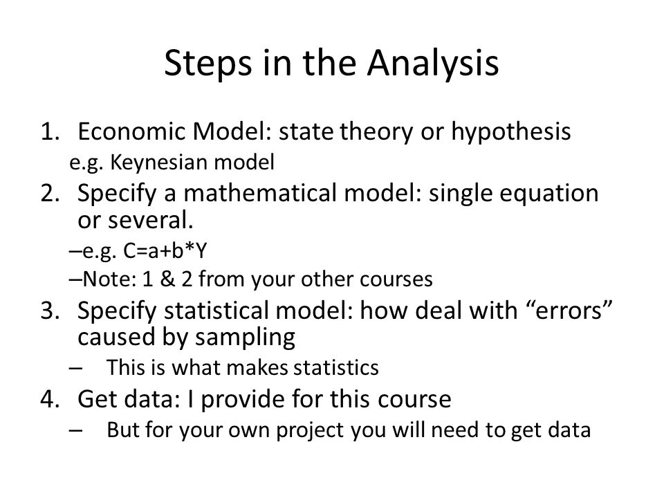 Steps in the Analysis Economic Model: state theory or hypothesis