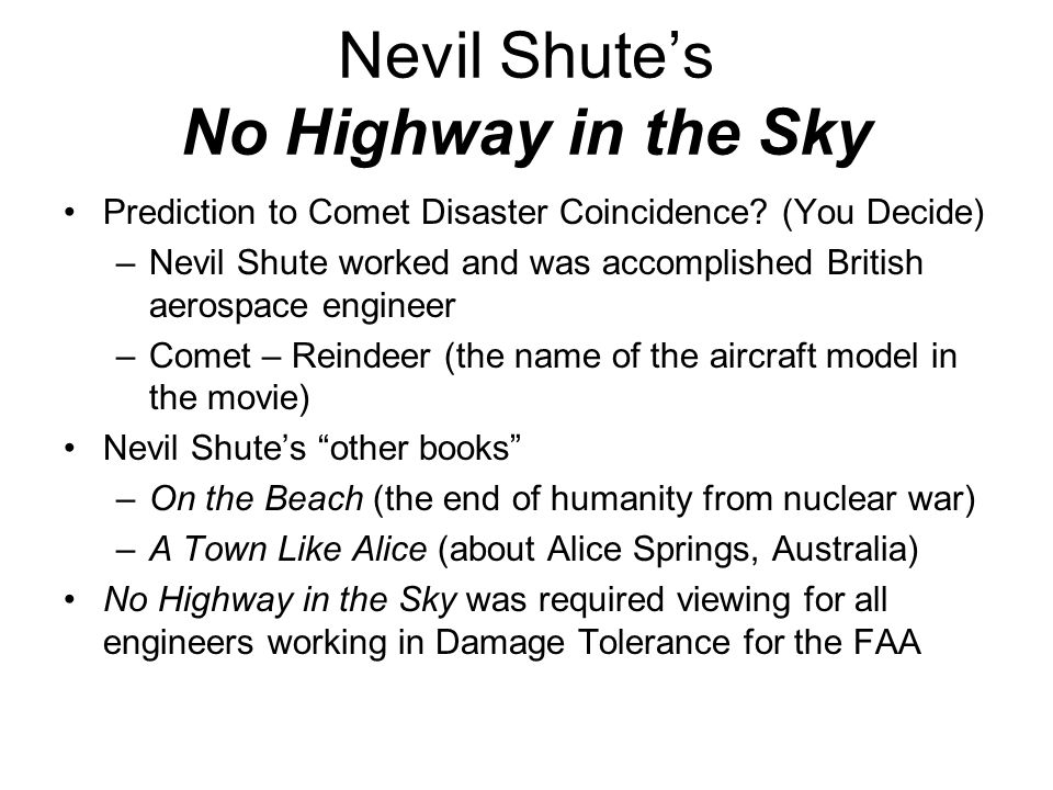 Nevil Shute's No Highway in the Sky