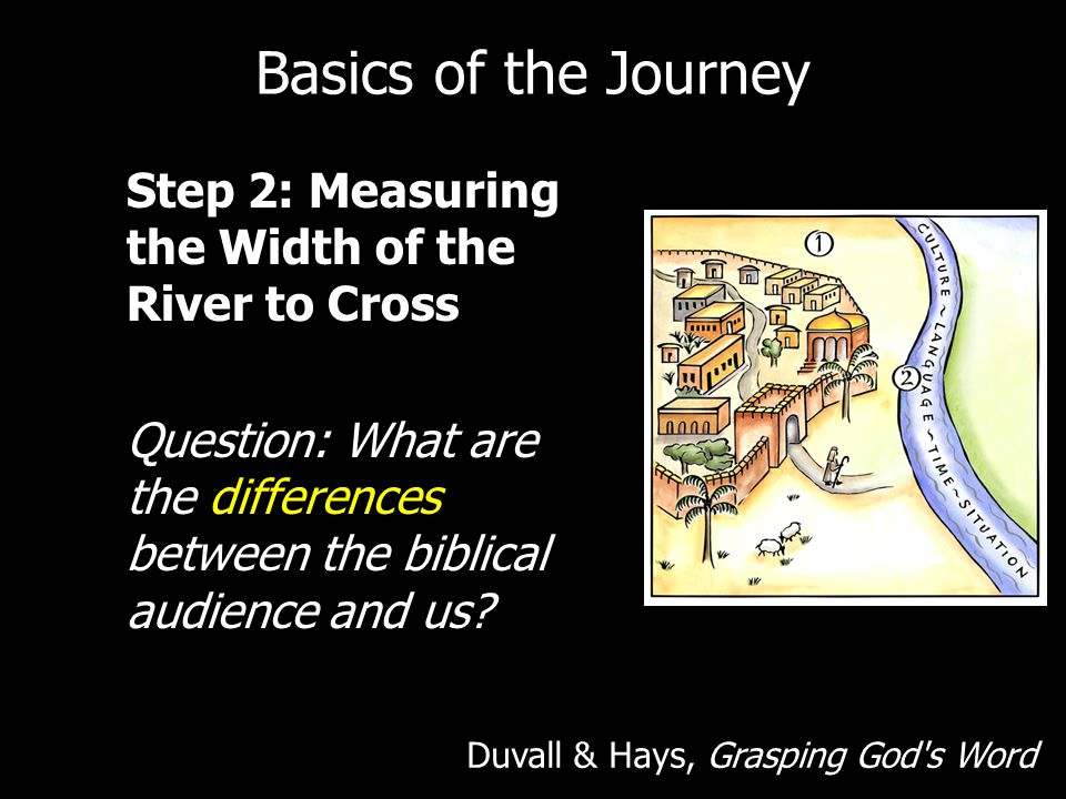 Basics of the Journey Step 2: Measuring the Width of the River to Cross Question: What are the differences between the biblical audience and us
