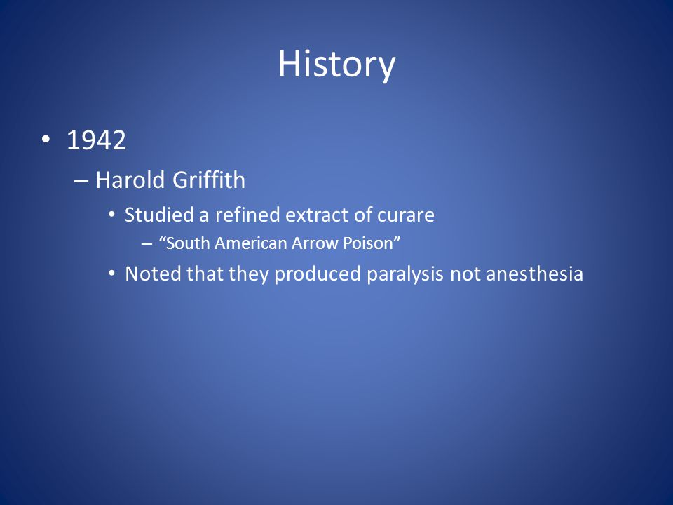 History 1942 Harold Griffith Studied a refined extract of curare