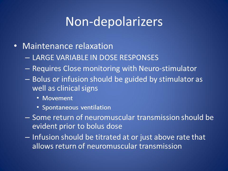 Non-depolarizers Maintenance relaxation