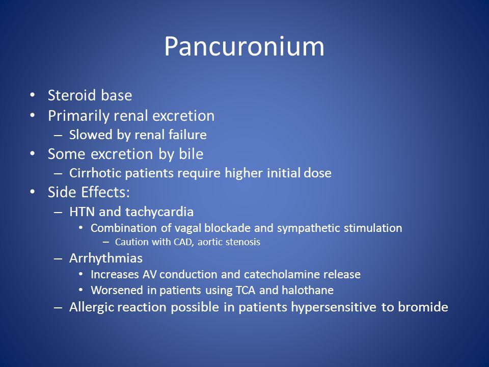 Pancuronium Steroid base Primarily renal excretion