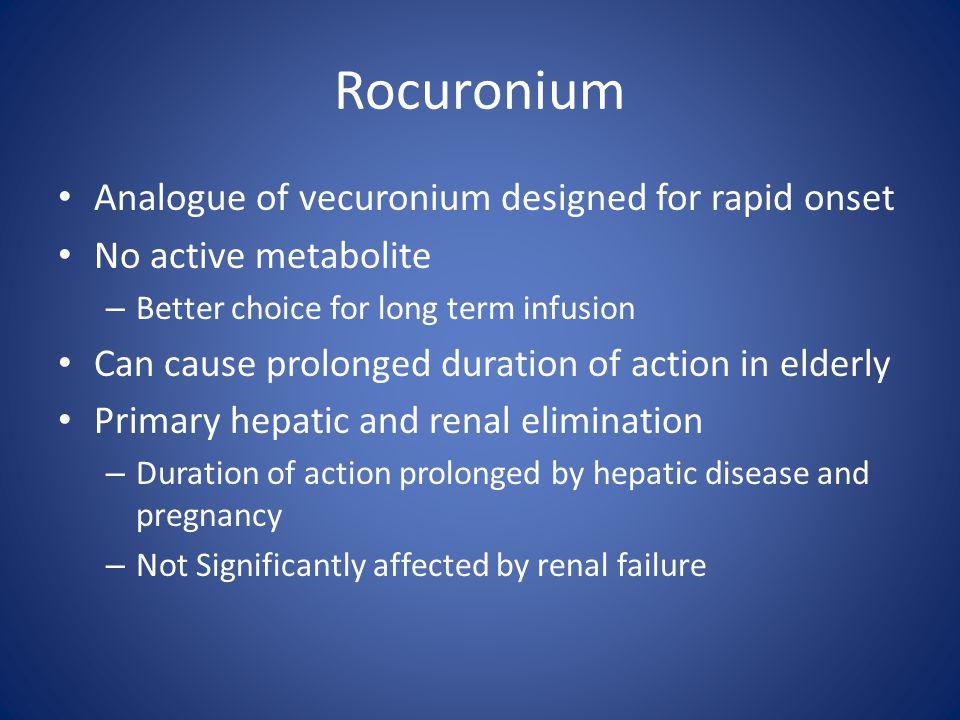 Rocuronium Analogue of vecuronium designed for rapid onset