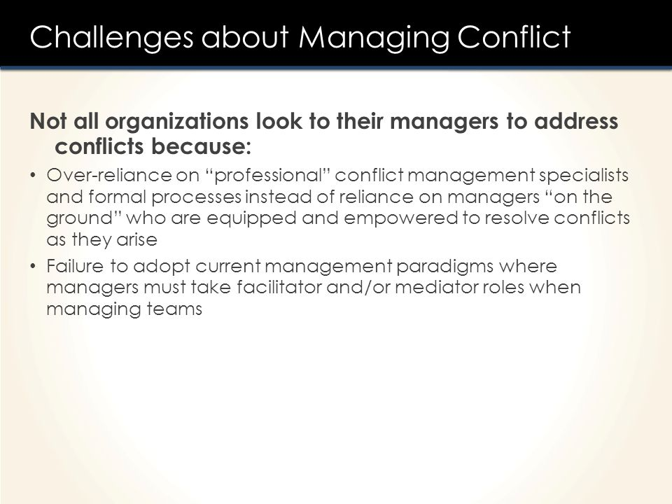Challenges about Managing Conflict