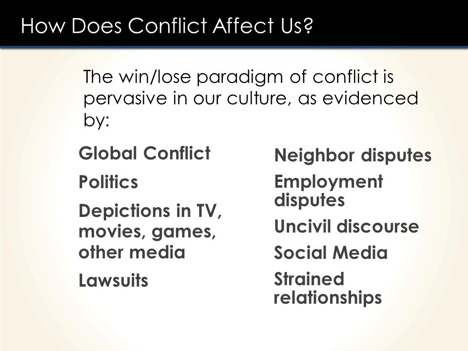 How Does Conflict Affect Us