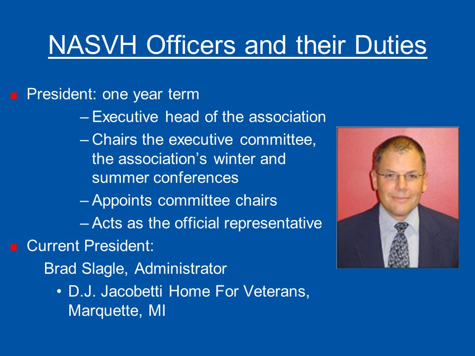 NASVH Officers and their Duties