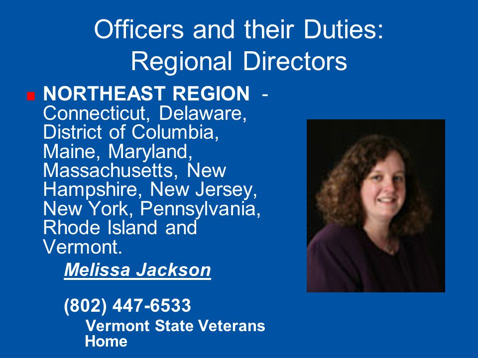Officers and their Duties: Regional Directors