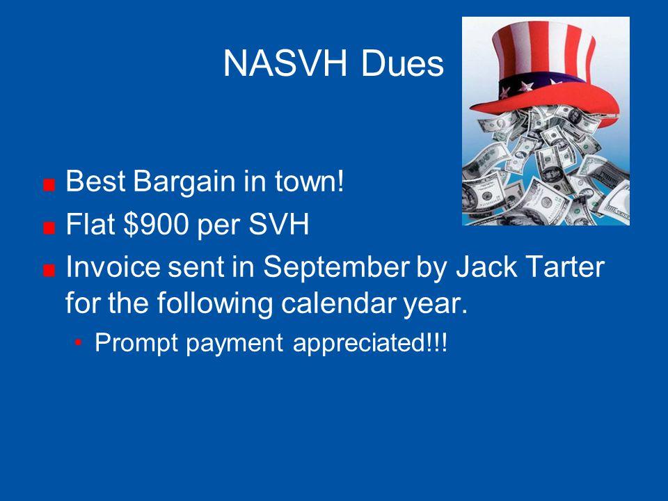 NASVH Dues Best Bargain in town! Flat $900 per SVH