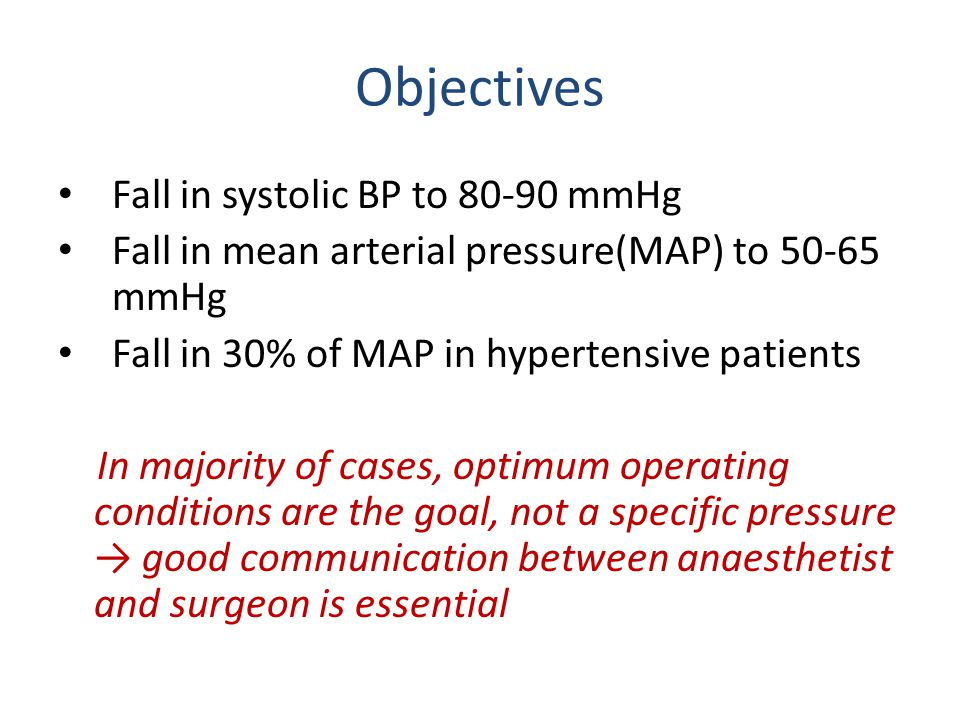 Objectives Fall in systolic BP to 80-90 mmHg