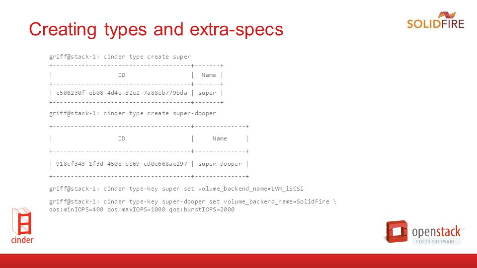 Creating types and extra-specs