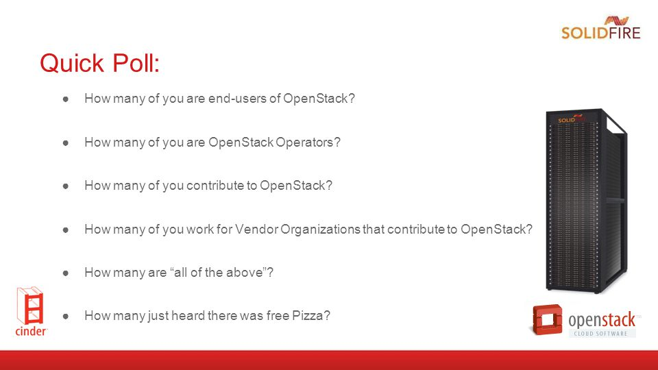 Quick Poll: How many of you are end-users of OpenStack