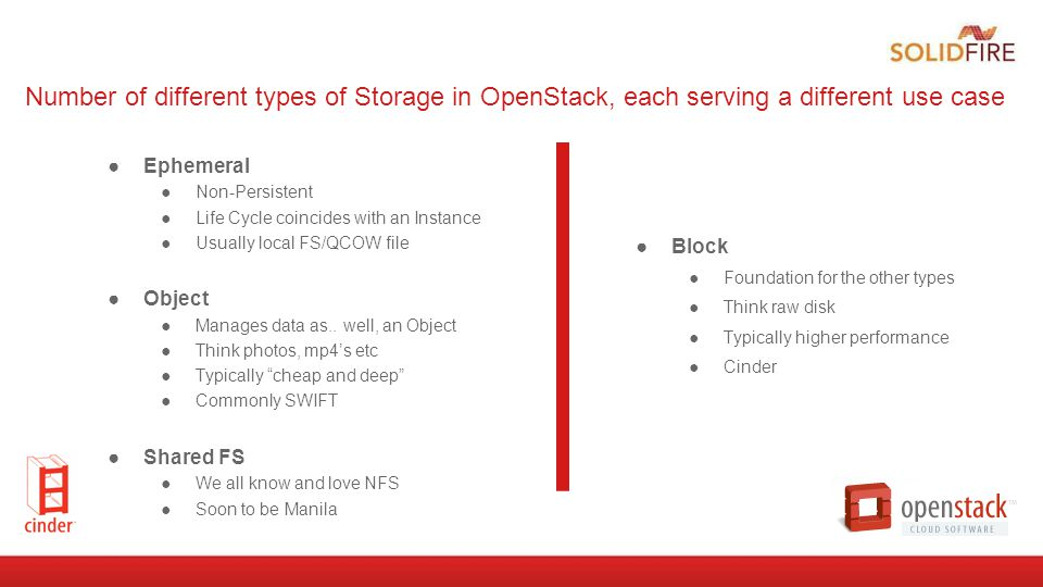 Number of different types of Storage in OpenStack, each serving a different use case