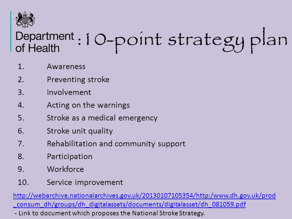 :10-point strategy plan Awareness Preventing stroke Involvement