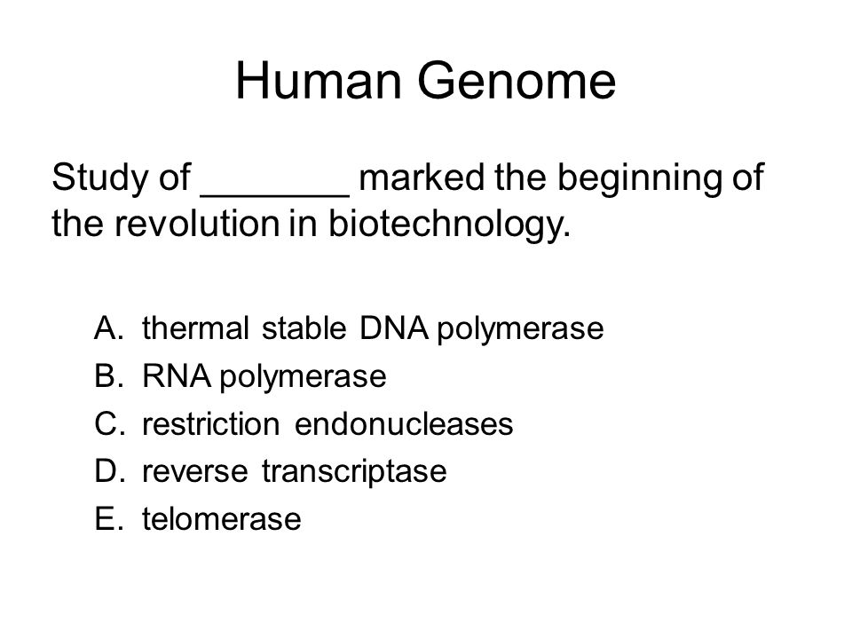 Human Genome Study of _______ marked the beginning of the revolution in biotechnology. thermal stable DNA polymerase.