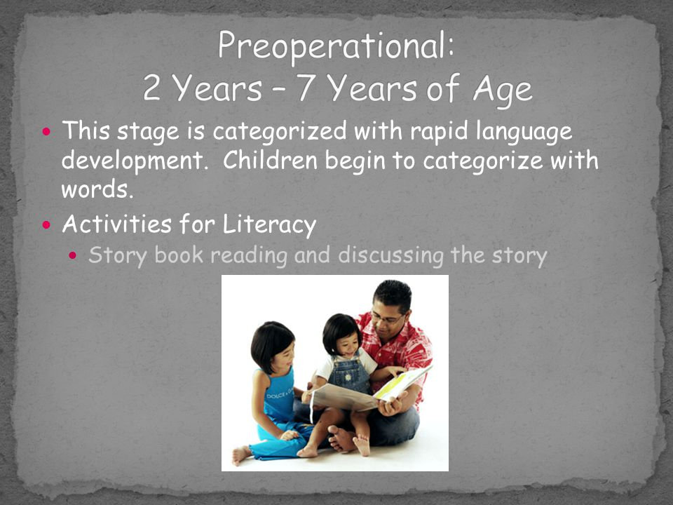 Preoperational: 2 Years – 7 Years of Age