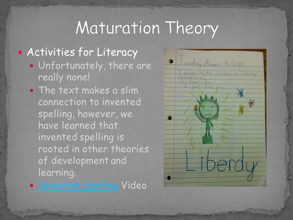 Maturation Theory Activities for Literacy