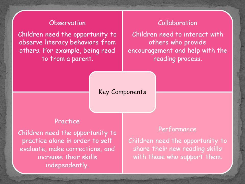 Key Components Children need the opportunity to observe literacy behaviors from others. For example, being read to from a parent.