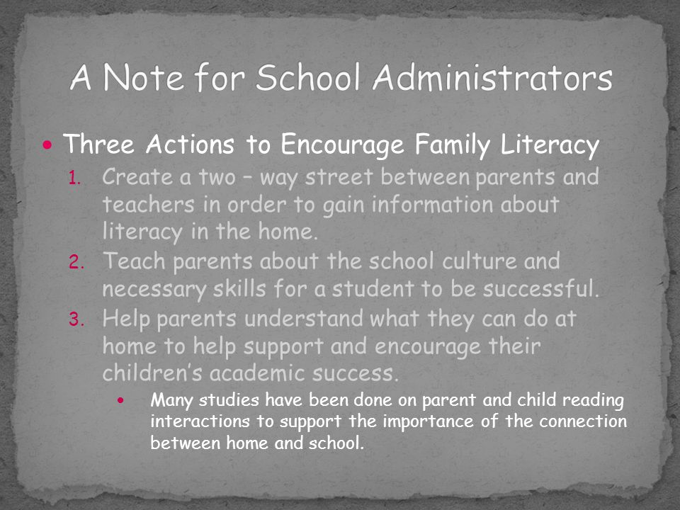 A Note for School Administrators