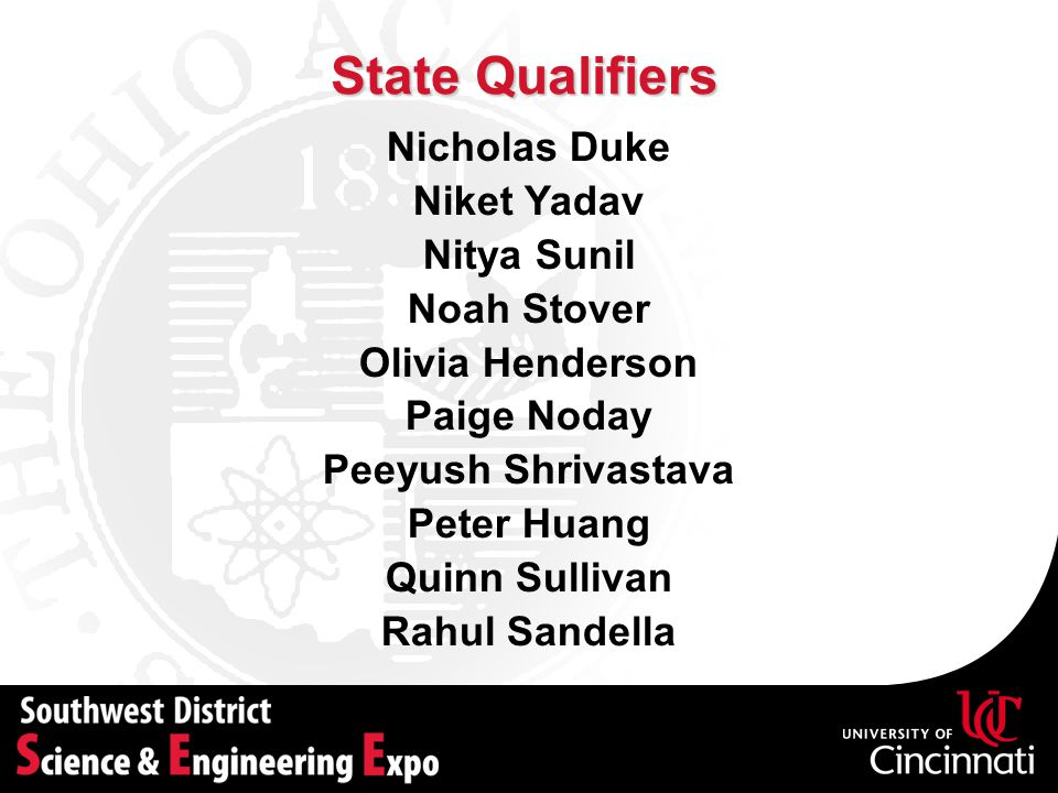 State Qualifiers Nicholas Duke Niket Yadav Nitya Sunil Noah Stover