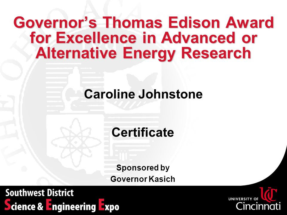 Governor's Thomas Edison Award for Excellence in Advanced or Alternative Energy Research