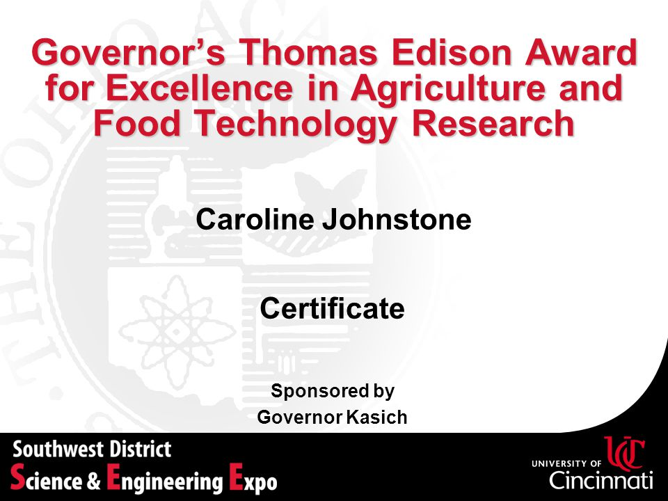 Governor's Thomas Edison Award for Excellence in Agriculture and Food Technology Research