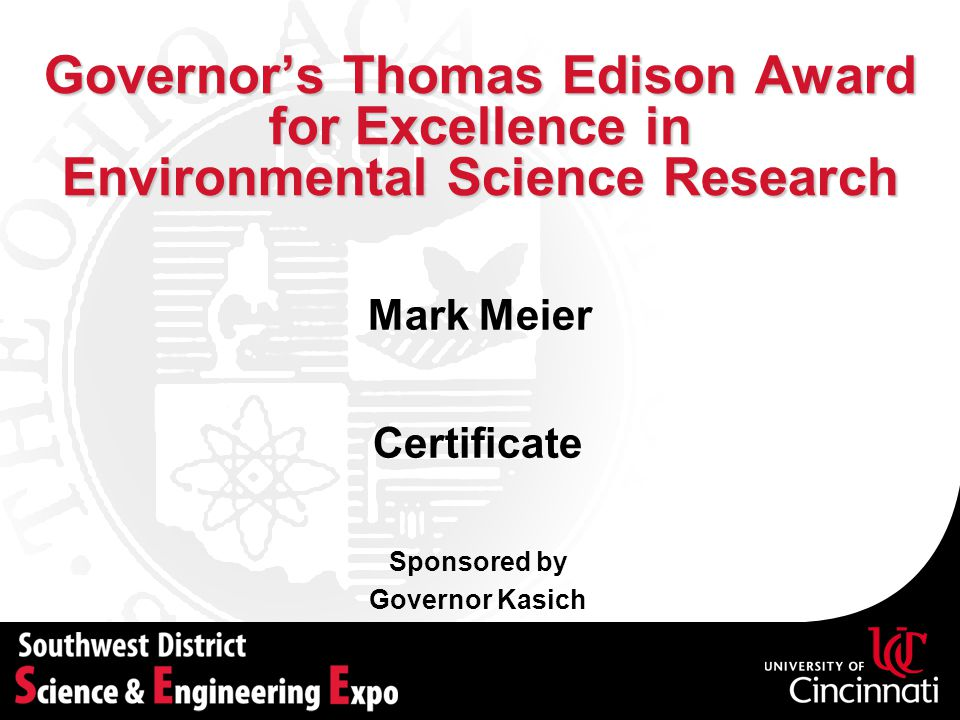 Governor's Thomas Edison Award for Excellence in Environmental Science Research
