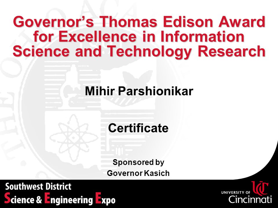 Governor's Thomas Edison Award for Excellence in Information Science and Technology Research