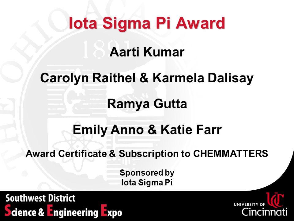 Iota Sigma Pi Award Aarti Kumar Carolyn Raithel & Karmela Dalisay