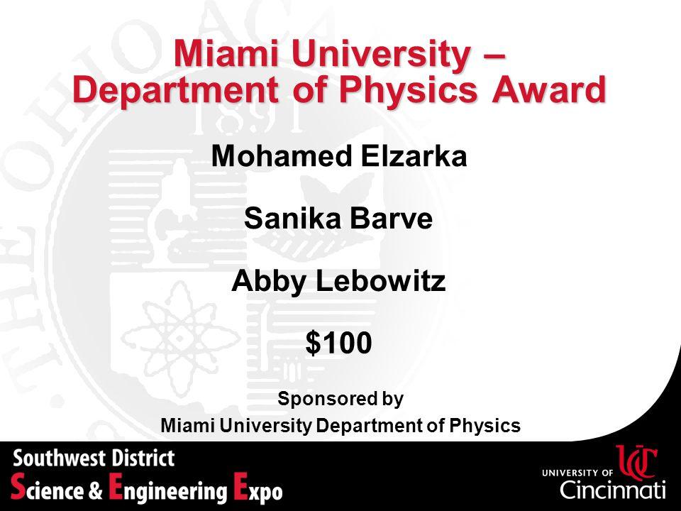 Miami University – Department of Physics Award