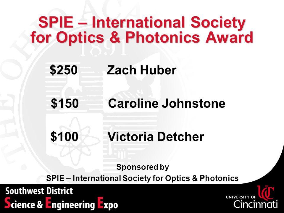 SPIE – International Society for Optics & Photonics Award