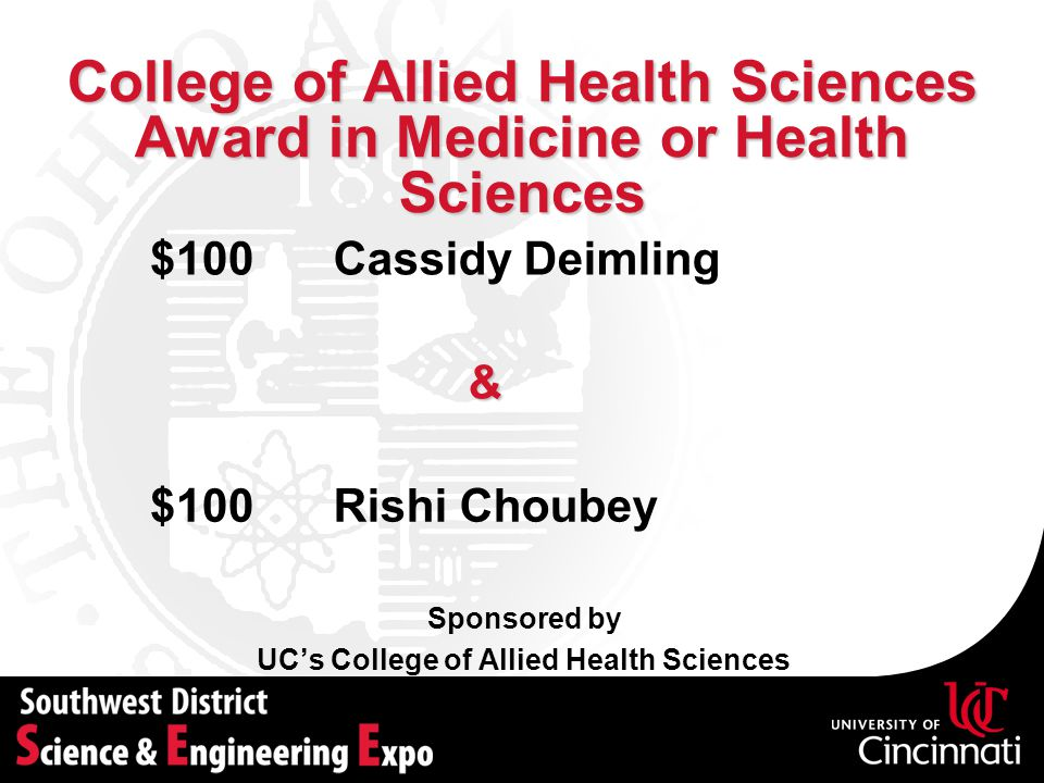 College of Allied Health Sciences Award in Medicine or Health Sciences